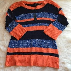 NWT Cable & Gauge sweater, large coral & blue